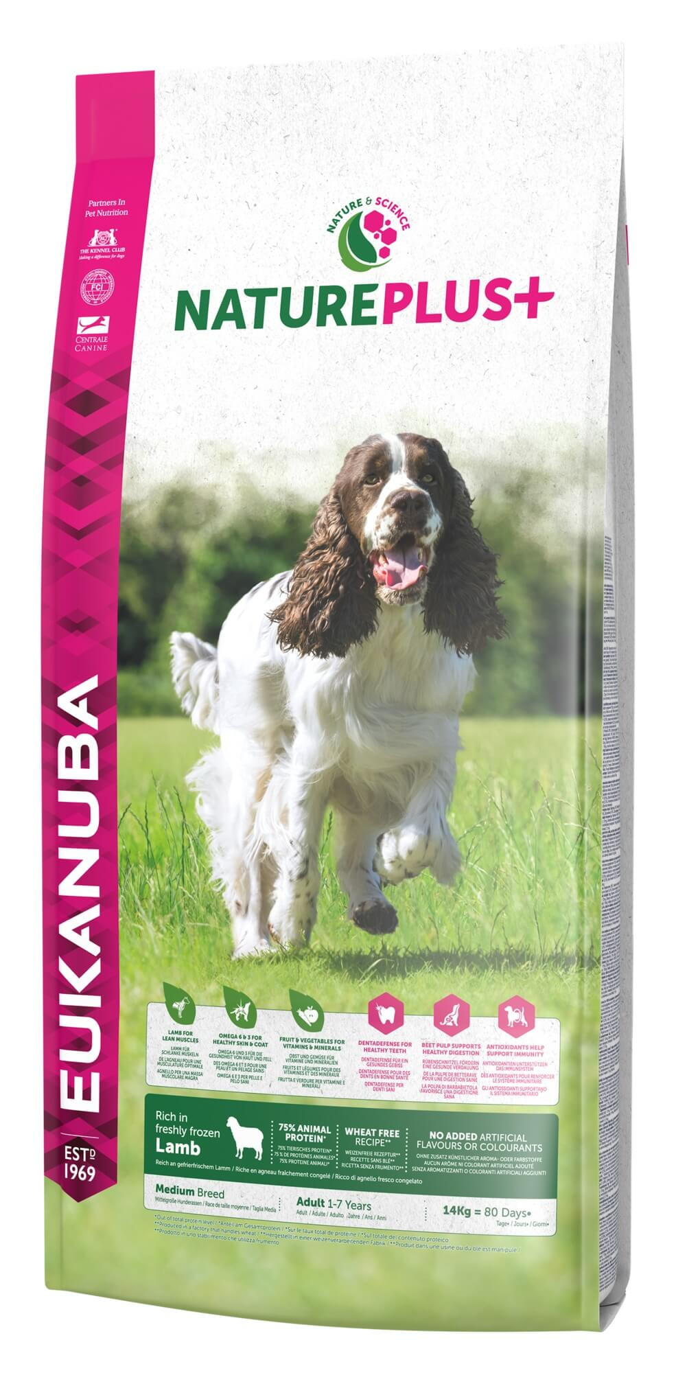 Eukanuba NaturePlus+ Cane Adulto Medium, con Agnello