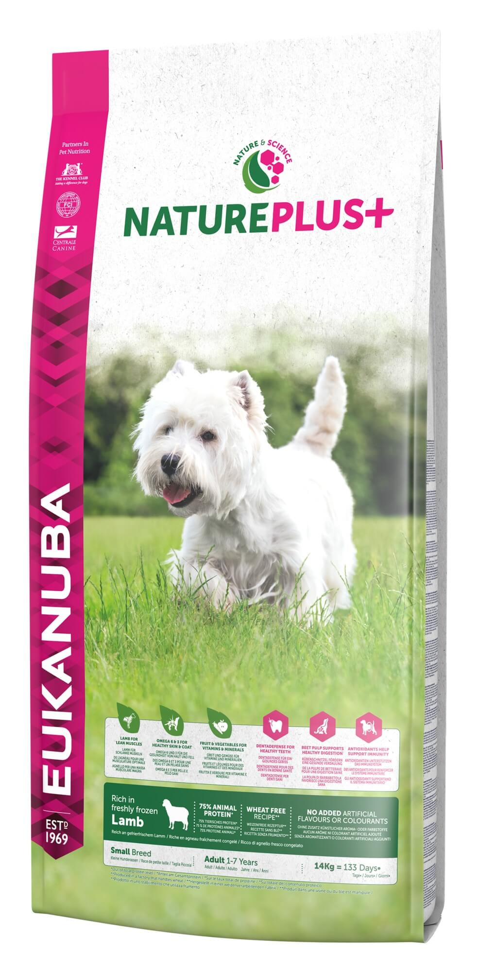Eukanuba NaturePlus+ Cane Adulto Small, con Agnello