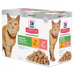 Hill's Mature Adult Senior Vitality cibo umido per gatto combipack 12x85g